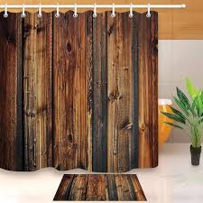 Lb Rustic Wood Panel Brown Plank Fence Shower Curtain And Bath Mat Set Waterproof Polyester Bathroom Fabric For Bathtub Decor Shower Curtains Aliexpress