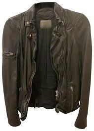 muubaa black distressed leather jacket