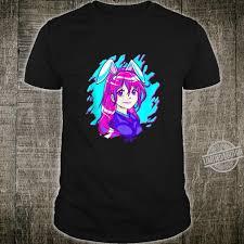 Vaporwave Aesthetic Synthwave Bunny Ear Anime Girl Shirt