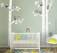 Birch Trees Wall Decal Owls Wall Decal Birch Trees And Owls Nursery Wall Decal Forest Trees Wall Decal Owls Wall Sticker Owls Nursery Owl Wall Decals Nursery Wall Decals Owl Nursery