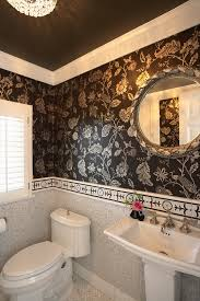 crown molding wallpaper bathroom with