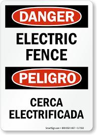 Bilingual Danger Electric Fence Sign Sku S 7150