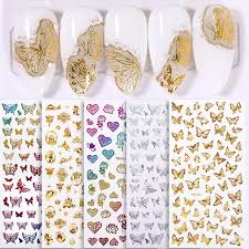 Super Promo 901c56 1 Sheet Butterfly Design 3d Stickers Gold Transfer Decals Colorful Stickers For Nails Heart Flower Slider Decal Accessory Cicig Co