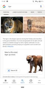 Google Search with 3D animals ...