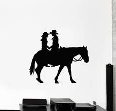 Vinyl Wall Decal Western Romance Cowboy Couple Lovers Horse Stickers G827 Ebay