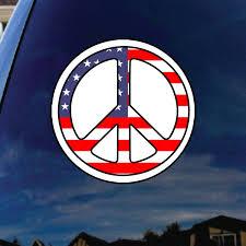 Peace Sign Usa Flag America Car Truck Laptop Sticker Decal