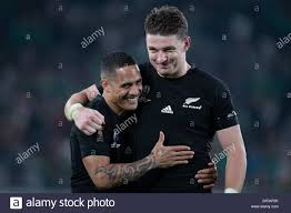 Tokyo, Japan. 19th Oct, 2019. Aaron Smith (left) player of New ...