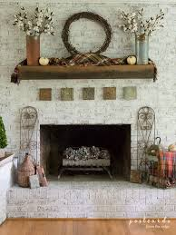 fall mantel with plaids metals and