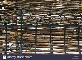Decorative Rustic Village Fence Of Wooden Twigs Garden Decor Stock Photo Alamy