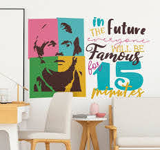 Andy Warhol Fame Quote Sticker Quote Stickers Wall Art Quotes Unique Wall Decals