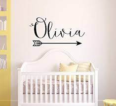Amazon Com Arrow Name Wall Decal Rustic Name Decal Nursery Decor Personalized Girl Wall Decal Boho Nursery Decor Custom Name With Arrow Girls Decor Baby