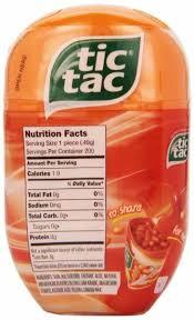 tic tac orange nutrition facts
