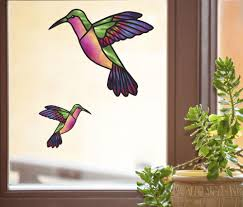 The Decal Store Com By Yadda Yadda Design Co Clr Wnd Hummingbird Stained Glass Style See Through Vinyl Window