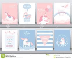 Sistema De Tarjetas De Cumpleanos Cartel Invitaciones Tarjetas Plantilla Tarjetas De Felicitacion Animales Unicornio Fant Ilustracion Del Vector Ilustracion De Feliz Llegadas 111377118