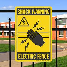 Shock Warning Electric Fence Sign Sku S 9393