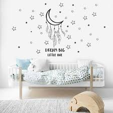 Dream Big Little One Wall Decals Good Night Wall Stickers For Nursery Moon With Stars Wall Dec For Baby Kids Bedroom Wish