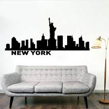 Amazon Com Wall Sticker New York Ny Skyline Decal Cityscape Wall Decal New York Statue Of Liberty Wall Mural Waterproof Home Decoration 96x42cm Kitchen Dining