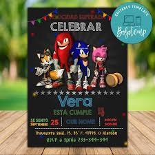 Plantilla Editable De Invitacion De Cumpleanos Fiesta De Sonic