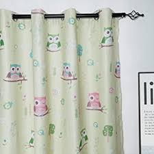 Amazon Com Myru 2 Panels Set Semi Blackout Owl Curtains For Kids Room Girls Boys Nursery Palm Green 2 X 39 X 63 Inch Home Kitchen