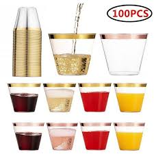 gold rimmed plastic wine glasses cups