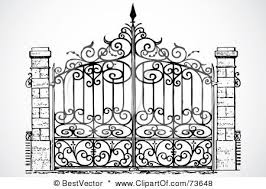 Royalty Free Rf Clipart Illustration Of A Black And White Wrought Iron Gate By Bestvector Wrought Iron Gate Designs Iron Gate Design Wrought Iron Gates
