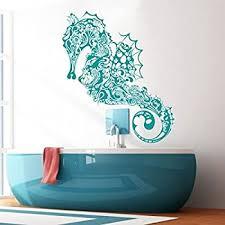 Amazon Com Vinyl Sea Horse Wall Decal Marine Fish Wall Sticker Sea Animal Wall Decal Ocean Fish Mural Home Art Decor Teal Home Kitchen