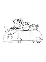 Kleurplaten Peppa En De Hele Familie Met De Auto Gratis Kleurplaten