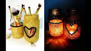 diy mason jar makeup brush and candle
