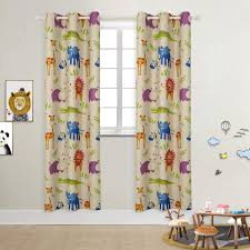 Amazon Com Bgment Kids Blackout Curtains Grommet Thermal Insulated Room Darkening Printed Animal Zoo Patterns Nursery And Kids Bedroom Curtains Set Of 2 Curtain Panels 42 X 84 Inch Beige Zoo Home Kitchen
