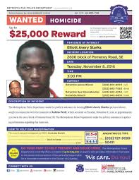 """DC Police Department on Twitter: """"MPD requests your assistance in locating  homicide suspect Elliott Avery Starks. Please see flyer below.… """""""