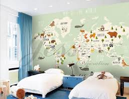 3d Nursery Kids Room Animal World Map Removable Wallpaper Etsy Kids Wall Decals Map Wall Mural Wallpaper Walls Decor