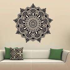 Amazon Com Cukudy Wall Sticker Indian Mandala Flower Mural Home Vinyl Family Bedroom Wall Decal Kitchen Dining