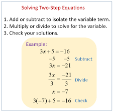 solving two step equations integers