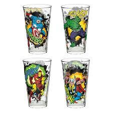 Marvel 16 Oz Pint Glasses Marvel Comics Avengers Set Of 4 Usa Only