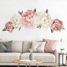 Amazon Com Peony Flower Wall Sticker Pink Peony Floral Wall Decals Peel And Stick Wall Stickers Pvc Removable Wall Decal For Girls Living Room Nursery Decor 3 Peony Kitchen Dining