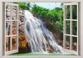 Waterfall Wall Sticker 3d Window River Wall Decal For Home Etsy Waterfall Wall Removable Wall Art Window Wall