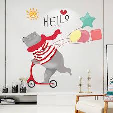Xl8387 Cute Skateboard Bear Wall Decal Sticker Sale Price Reviews Gearbest