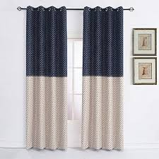 Amazon Com Cherry Home Star Print Curtains For Boys Kids Room Thermal Insulated Blackout Drapes Darkening Window Curtains Panels Metallic Grommet Top Navy 52 By 84inch Home Kitchen
