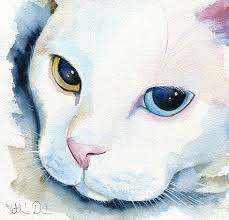 Adele - White Cat Portrait   Aquarelle chat, Chat et Aquarelle
