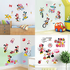 Disney Mickey Minnie Mouse Pvc Wall Stickers For Nursery Kids Room Party Decor Cartoon Wall Mural Art Decals Diy Home Decoration Leather Bag