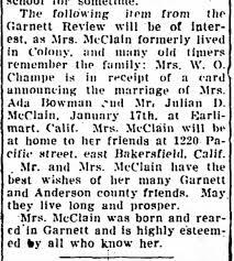 Marriage of Mrs Ada Bowman and Mr Julian D McClain - Newspapers.com