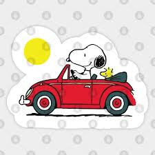 Snoopy And Woodstock Riding Car Snoopy And Woodstock Riding Car Sticker Teepublic