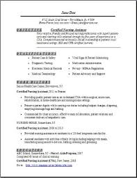 certified nursing istant resume