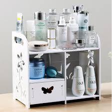 diy makeup organizer box white wooden