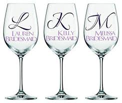 Amazon Com Set Of 3 Bridesmaid Decals Bridesmaids Name And First Initial Customize The Color Name And Size Perfect For Windows Wine Glasses Flasks Yeti Cups Bridesmaids Gift Water Bottle Etc Handmade