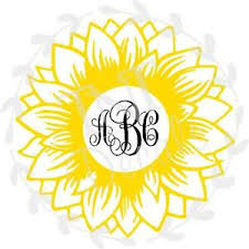 Sunflower Monogram Vinyl Decal Ebay