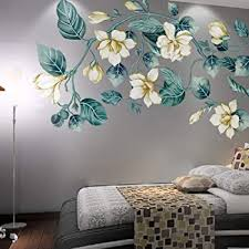 Amazon Com Livegallery Removable Vinyl Fresh Green Leaf And White Flower Wall Sticker Murals Kids Girls Bedroom Nursery Rooms Wall Decals 3d Peel And Stick Decor For Home Living Room Offices Wall Corner