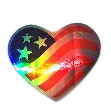I Love America Heart Shaped American Flag Bumper Sticker Car Auto Window Decal