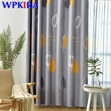 Yellow Leaves Thick Blackout Curtain For Kids Bedroom Printed Blind Window Curtain For Living Room Modern Window Drapes M2193 Curtains Aliexpress