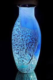 beautiful blue glass vase by janna